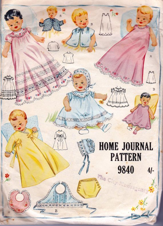 1950s Vintage Baby Layette Sewing Pattern Australian Home Journal ...