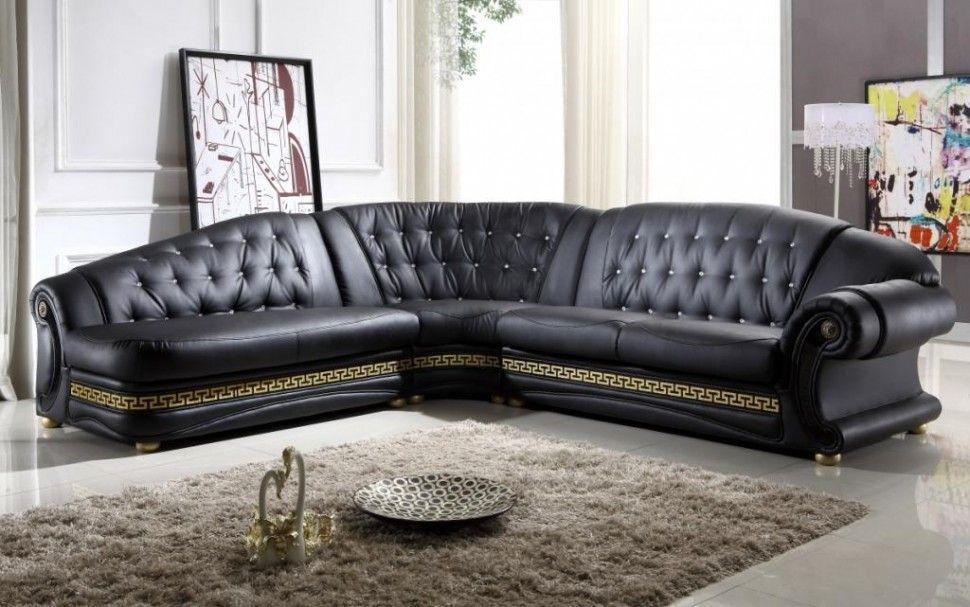 Living Room Dazzling Corner Black Leather Sofa Design With Cream Fur Rug And White Transparent Curtain Ideas Corner Sofa Design Ideas For Your Modern Living Roo