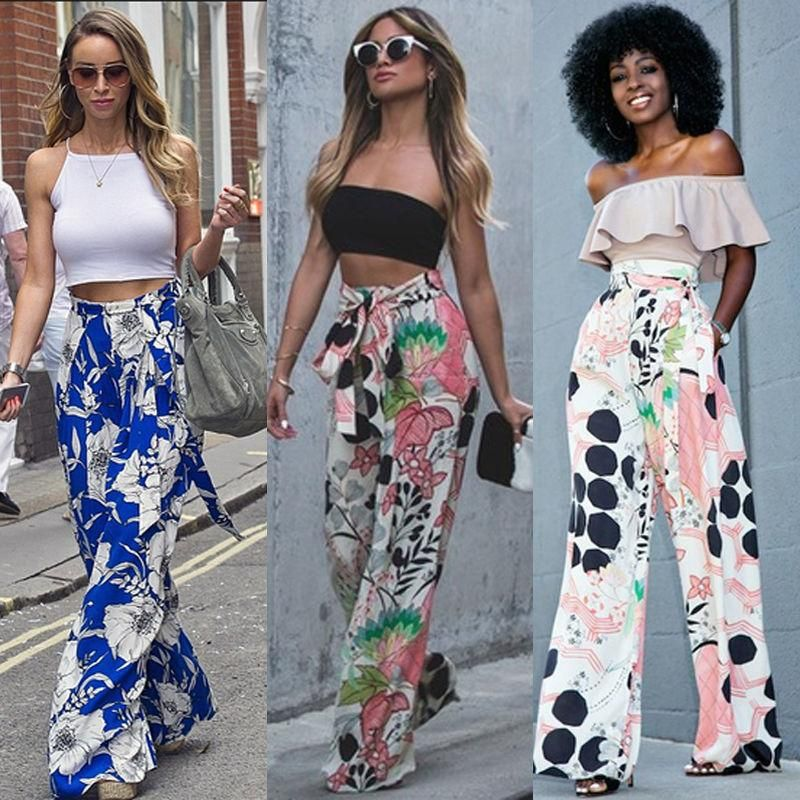 dc9402bf81 New 2017 Fashion Women Loose Stretch High Waist Wide Floral Leg Long Pants  Palazzo Trousers #