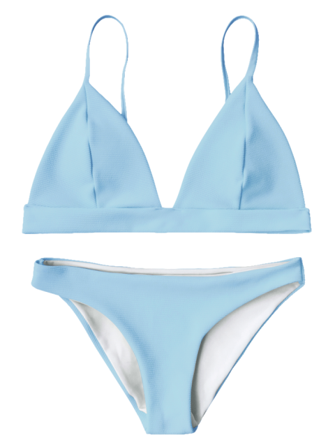 7a15c1cefd3a4 Cami Plunge Bralette Bikini Top and Bottoms - LIGHT BLUE S