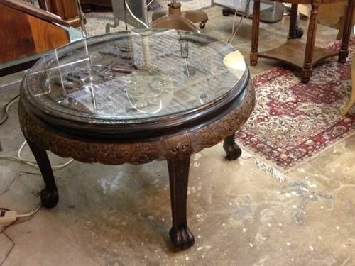 Mid Century Round Asian Tea Table / Coffee Table Ornate Carved Asian Scene  Under Glass Carved