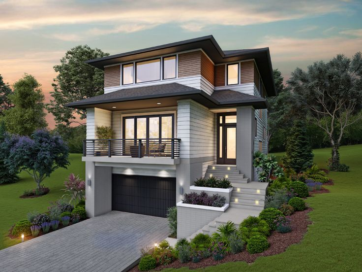 Modern House Plan 034h 0456 Modern Style House Plans Contemporary House Plans Narrow Lot House Plans Modern house plan with garage under