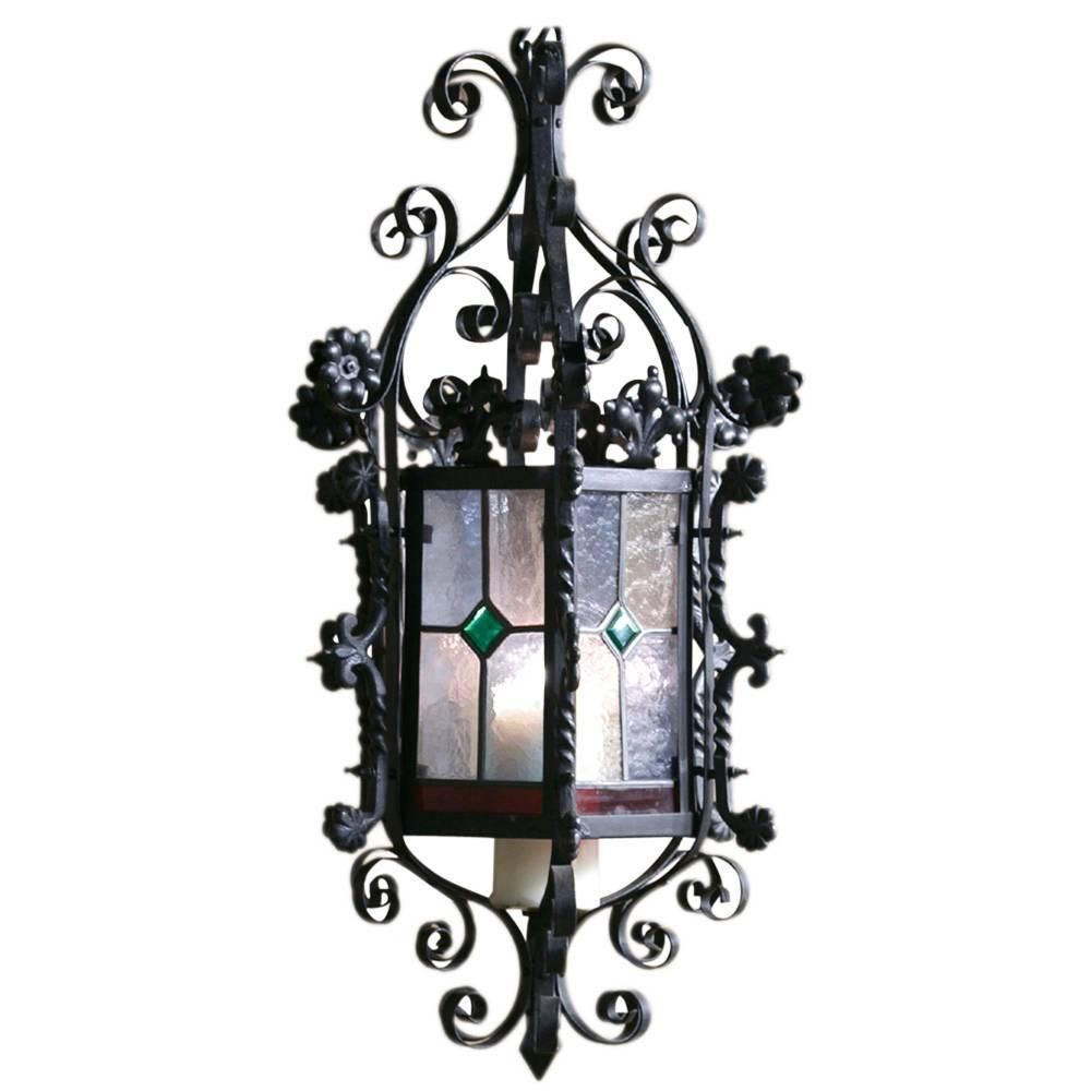 Wrought iron lantern chandelier with stained glass lantern wrought iron lantern chandelier with stained glass aloadofball Gallery