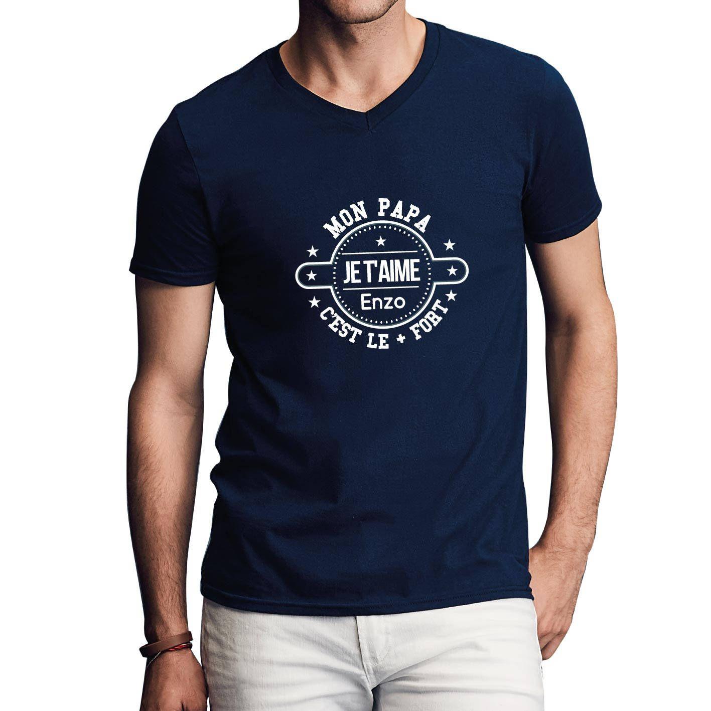 T shirt à personnaliser papa avec votre prénom - Cadeau fête des pères -  Idée cadeau papa