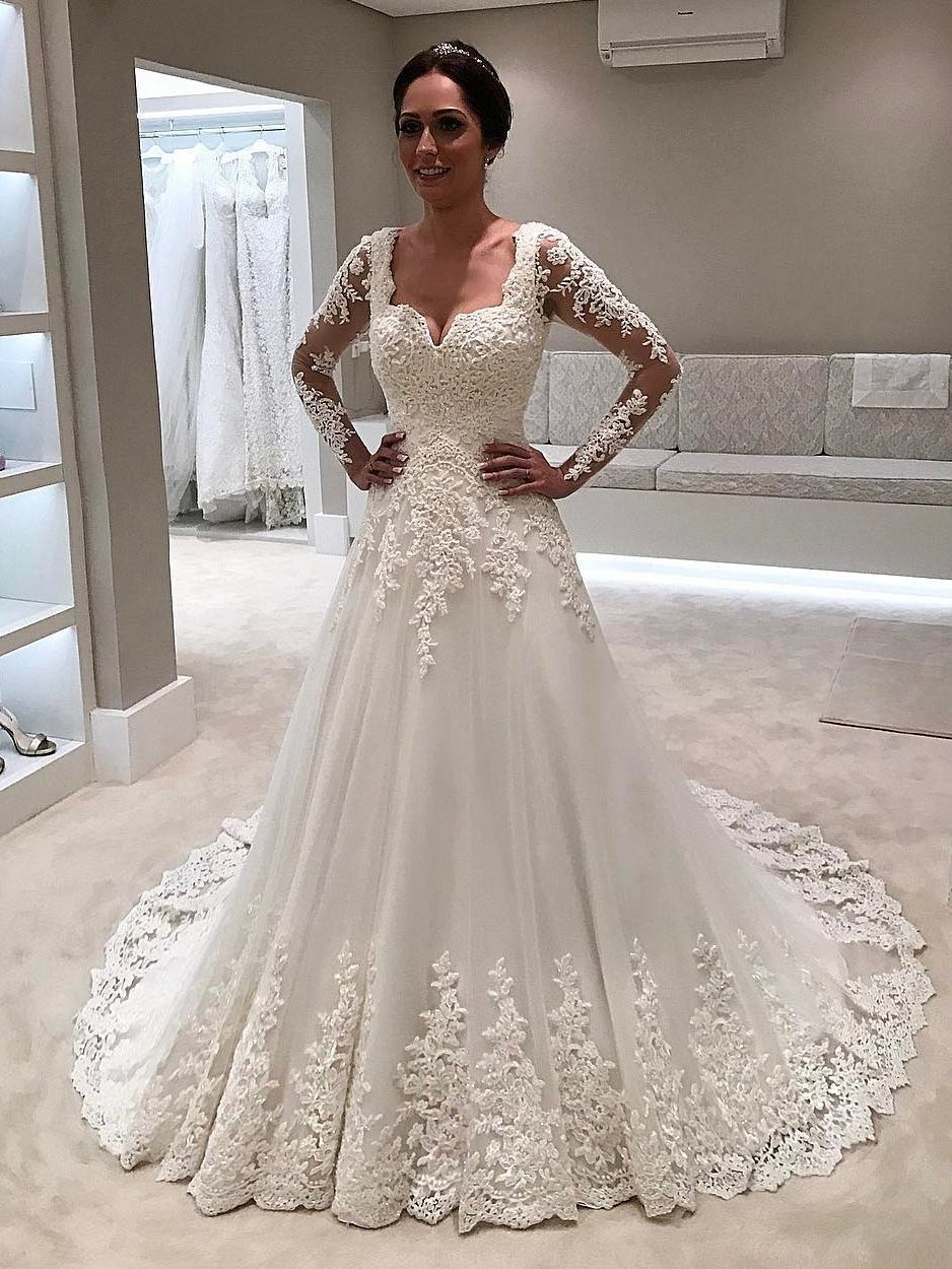 White lace wedding dress with sleeves  Outlet Dazzling Wedding Dresses Lace Elegant White Lace Long Sleeves