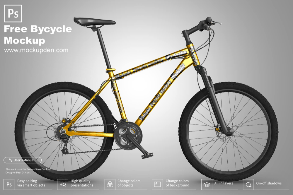 Download Free Bicycle Mockup Psd Template A Bicycle Is A Human Powered Pedal Driven Single Track Vehicle Having Two Wheels Mockup Psd Psd Templates Mockup