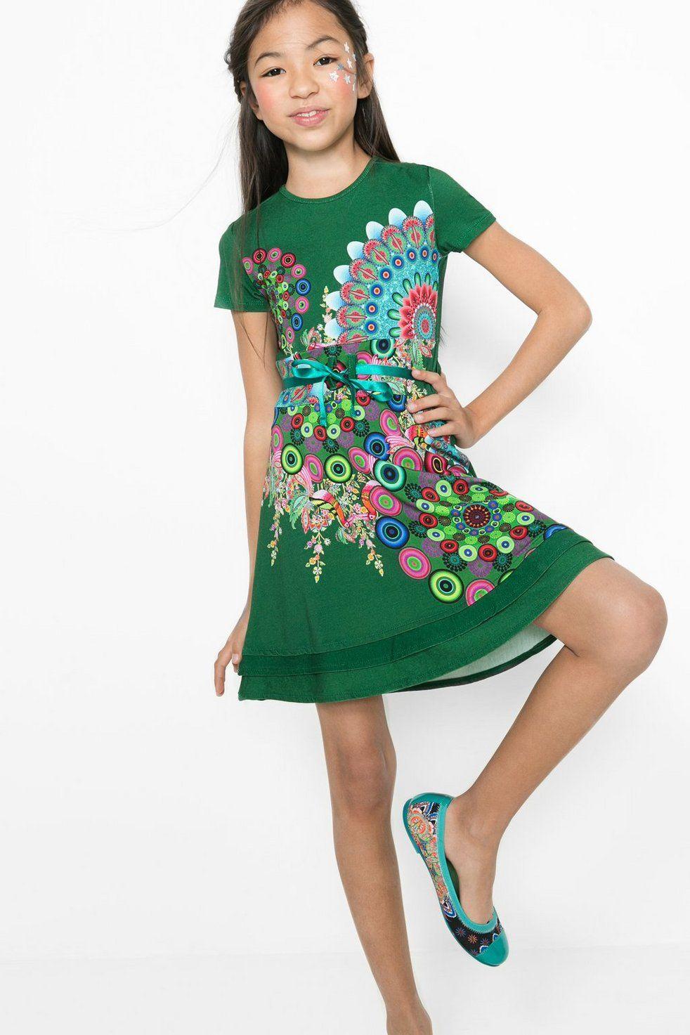 69fdddaaa46 Vestido verde para niña | Desigual.com | Miranda | Vestidos, Vestido ...