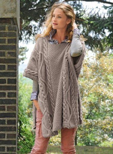 modele tricot poncho femme bergere de france