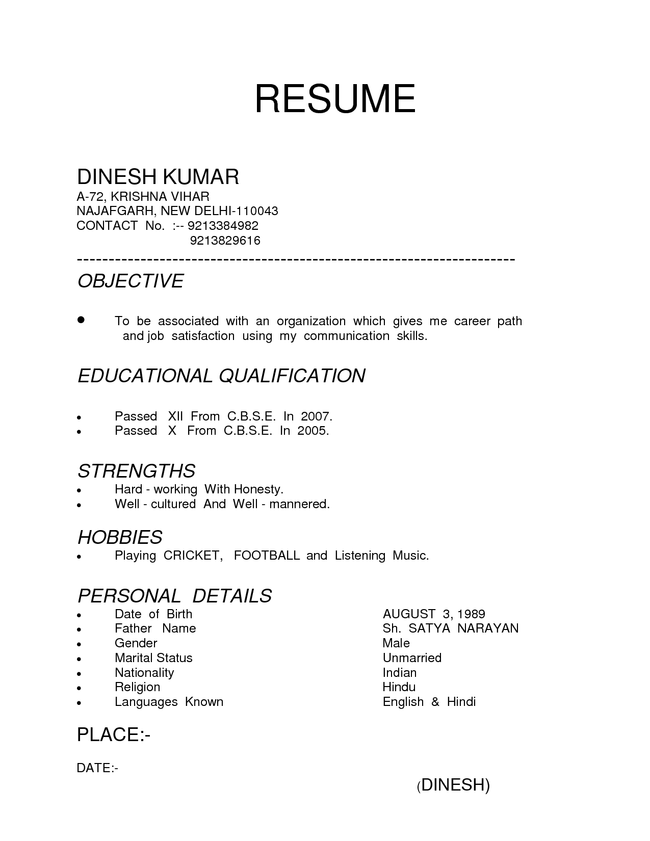 Types Of Resume Templates Kinds Of 4 Resume Examples Resume Format Sample Resume