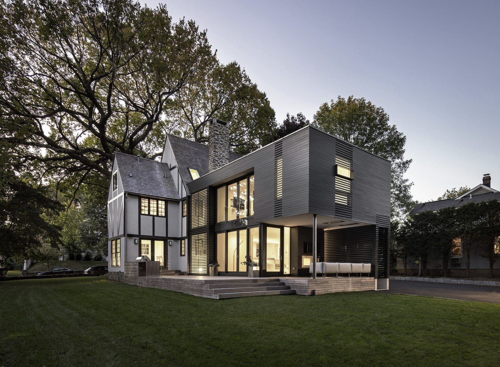 5 traditional homes with super modern additions home pinterestbusiness in the front, party in the back 5 traditional homes that got super modern additions \u2014 dwell