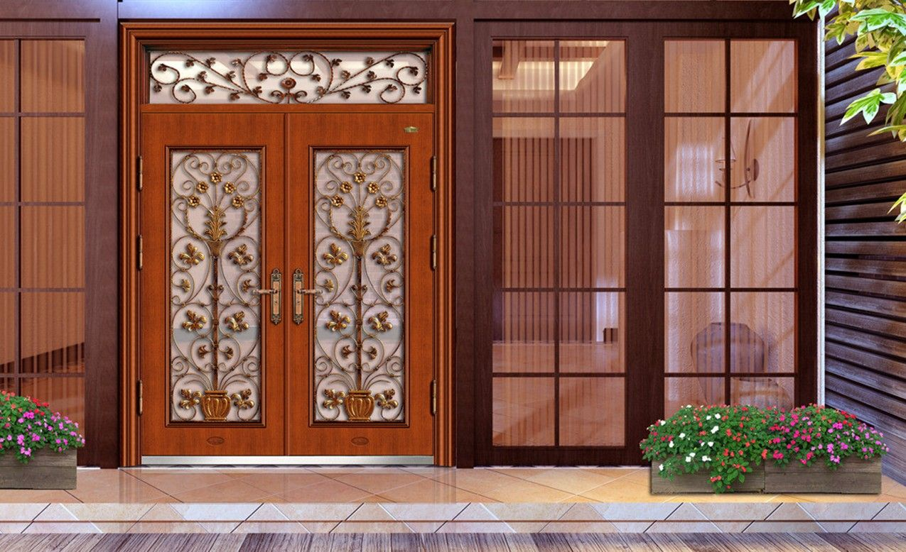 French villas view of luxury door and sculpture for French main door designs