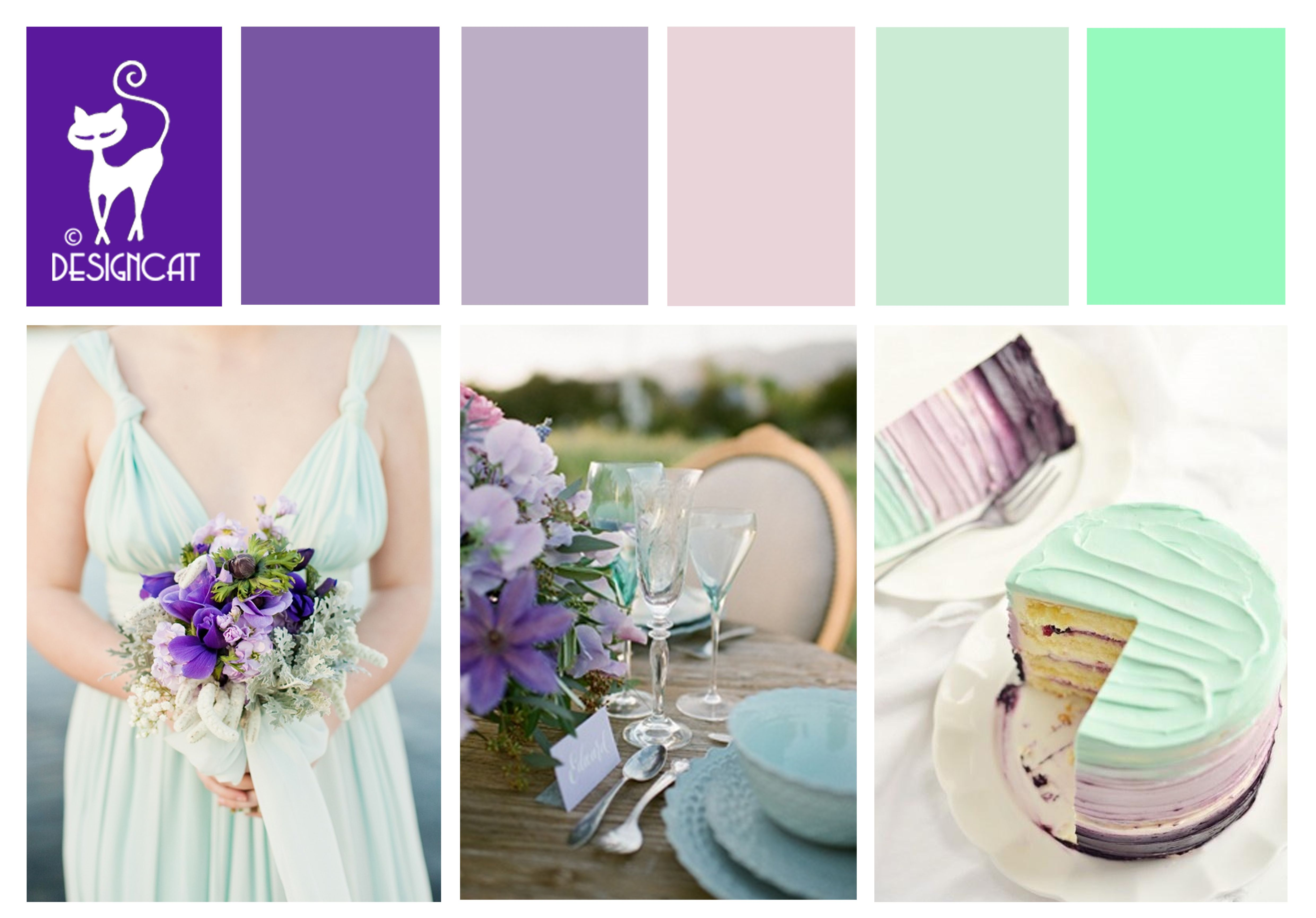 Purple Mint Wedding Inspiration Colour Board Purple Lilac