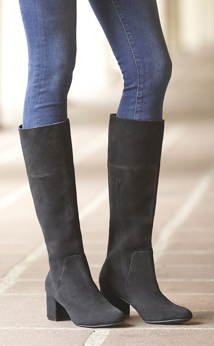 c02dd151dd6 Suede block heel boots inspired by  60s    70s go-go style