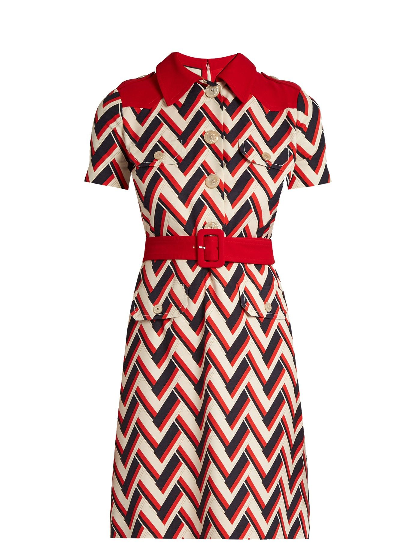 Chevron Print Wool And Silk Blend Dress Gucci