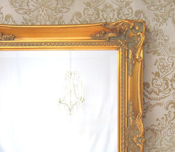 """NEOCLASSIC FRAMED MIRROR 45""""x24' Large Teal Blue Copper Oxidized Bronze Baroque Regency"""
