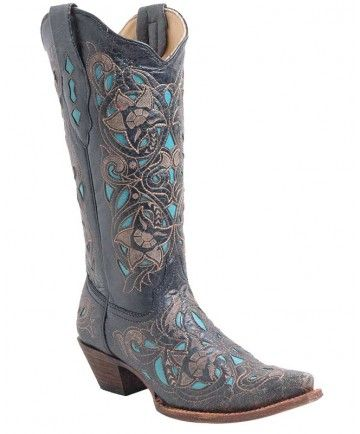 Corral Ladies Black Cognac/Turquoise Inlay Western Boots