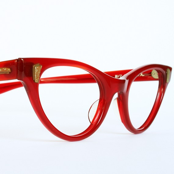 Crimson Orchid Cat Eye Glasses by Univis New Old Stock