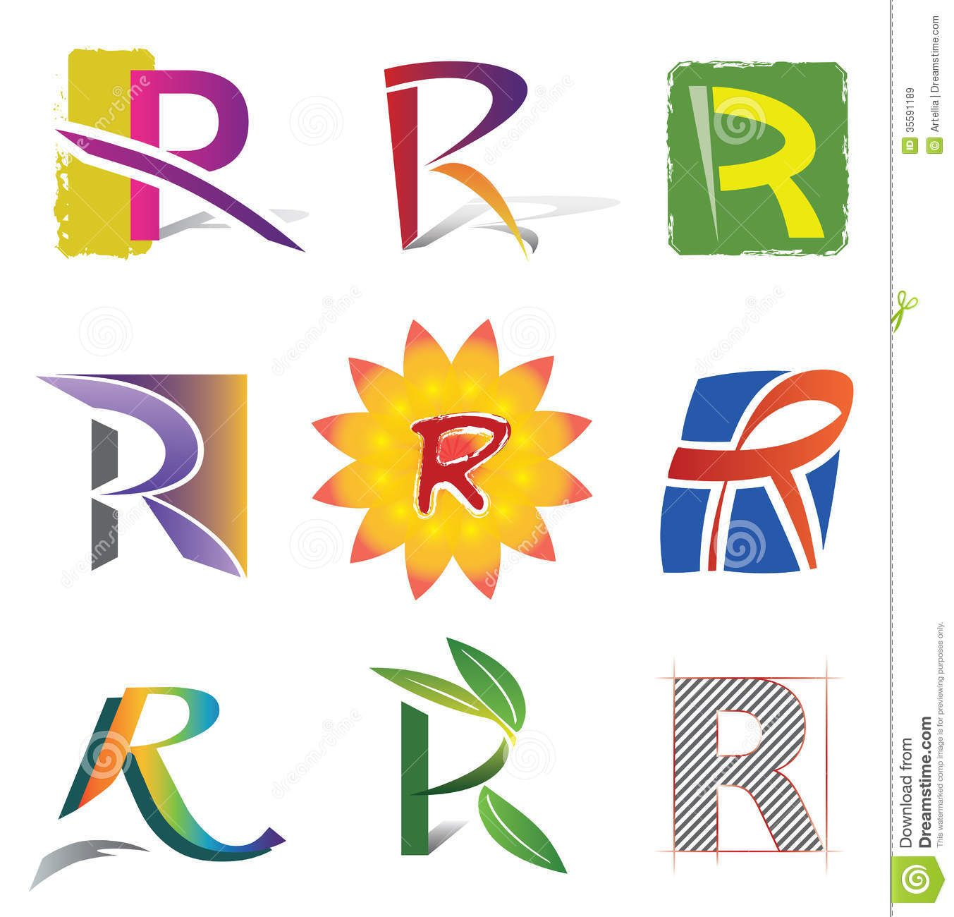 Set Of Decorative Letters R Icons And Elements Royalty
