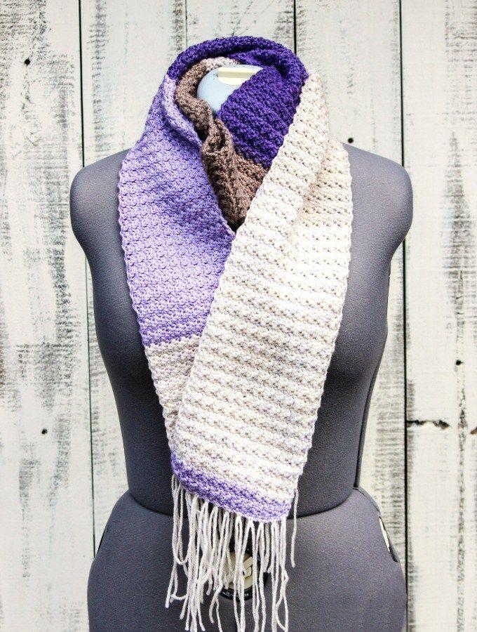 Crochet Lilac Frosting Scarf - Free Crochet Pattern   Patrones