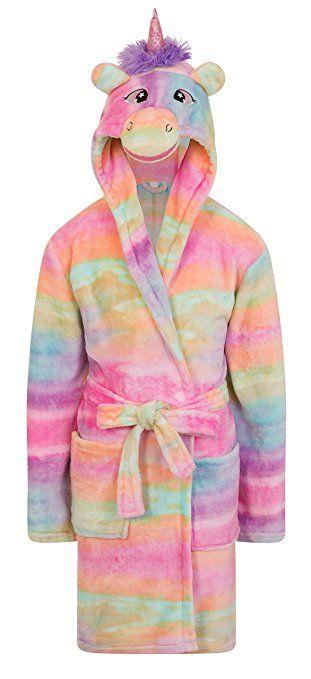 Girls Fleece UNICORN RAINBOW Multicoloured Dressing Gown Luxury Flannel  Hooded Novelty Animal Face Size UK 3 4 5 6 7 8 9 10 Years 6cccfc111