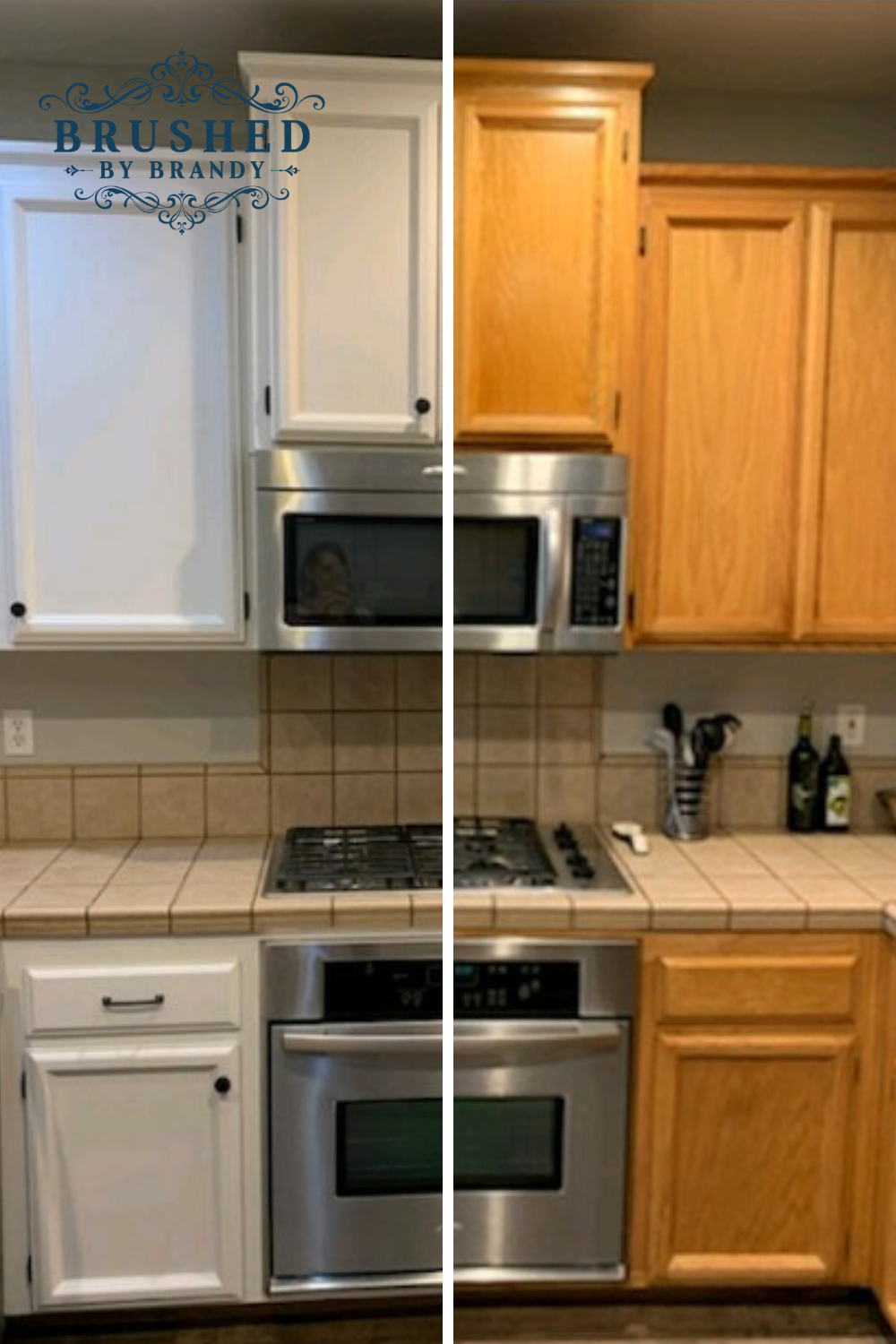Kitchen Cabinet DIY Painting Makeover! Paint Old Oak Cabinets White with Brushed by Brandy