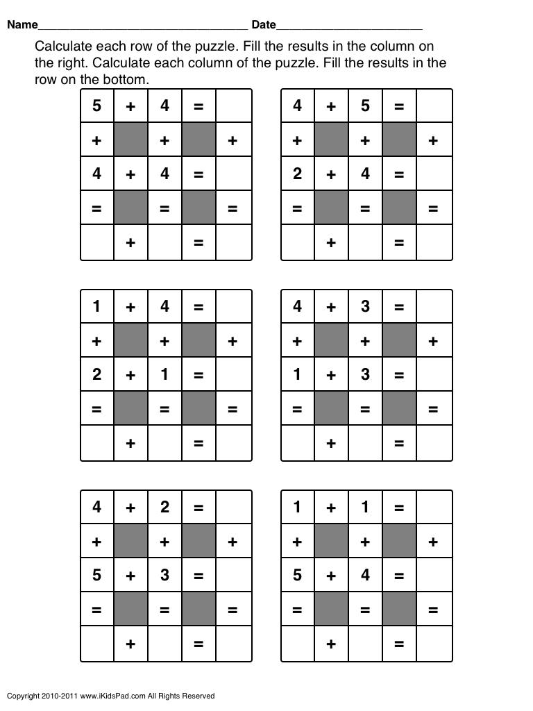 Fun Math Worksheets Fun Math Worksheets Maths Puzzles 1st Grade Math Games [ 1024 x 768 Pixel ]