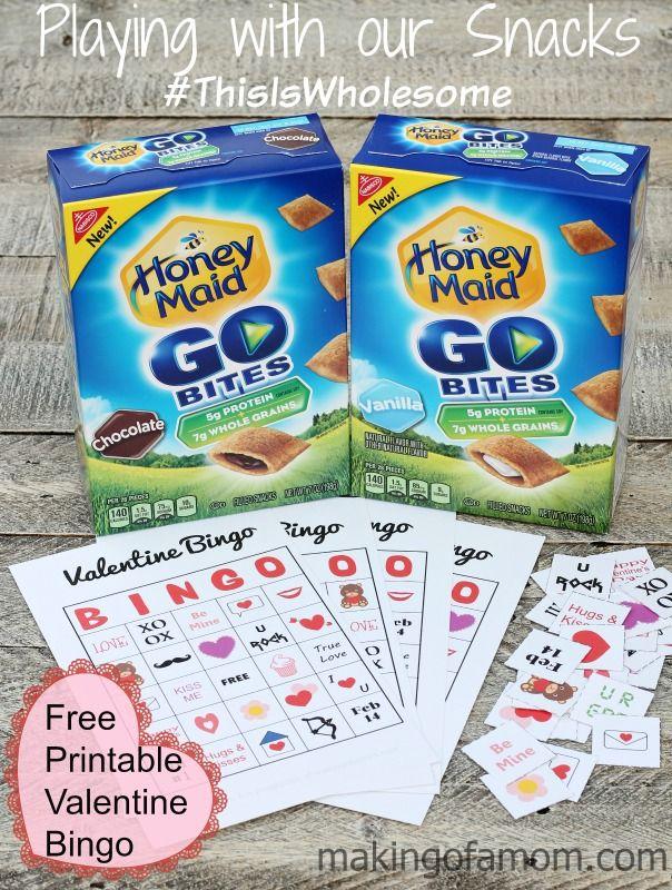 Fun Snack Time with Honey Maid Go Bites & #printable #ValentinesDay bingo game