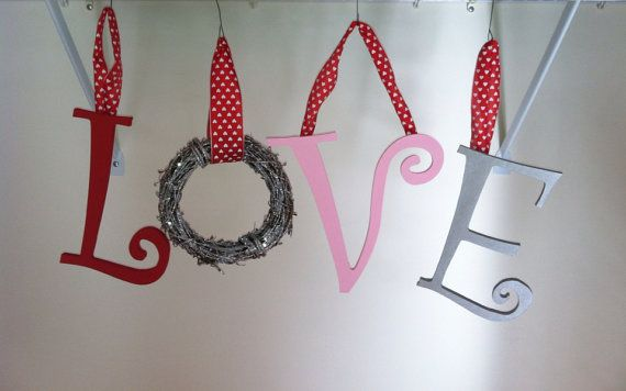 LOVE Valentines Day Wall Hanging  by RusticDolls on Etsy, $25.00