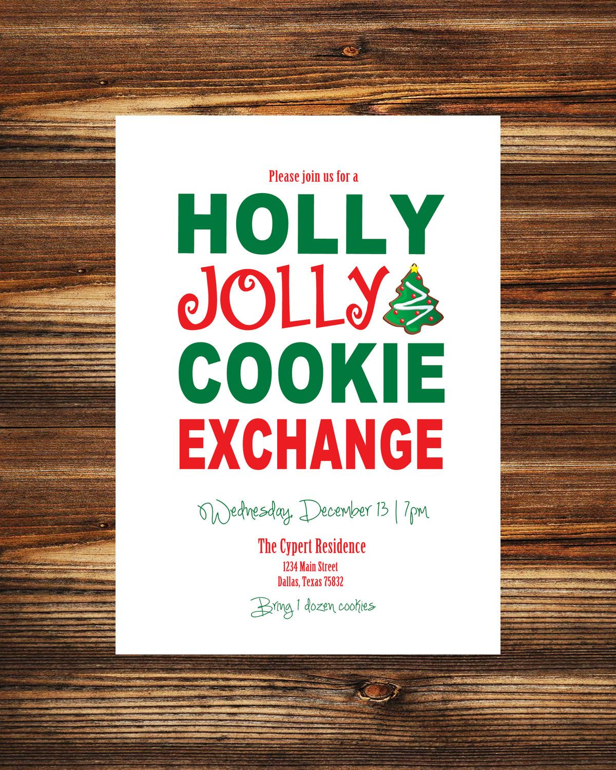 Cookie Exchange Party Invitation (Digital File). $12.00, via Etsy ...