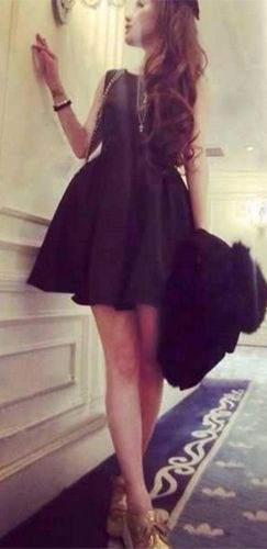 Black Sleeveless Scoop Neck Cut Out Bow Back Pleated Skater Circle A Line Flare Mini Dress