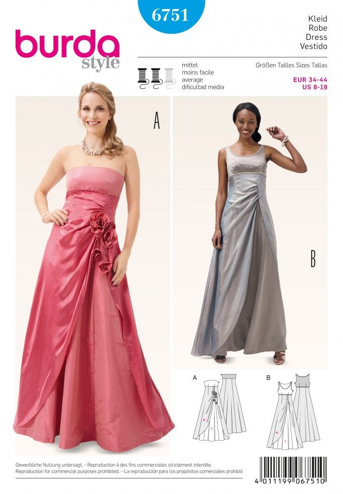 Burda Ladies Sewing Pattern 6751 Special Occasion Evening Dresses ...