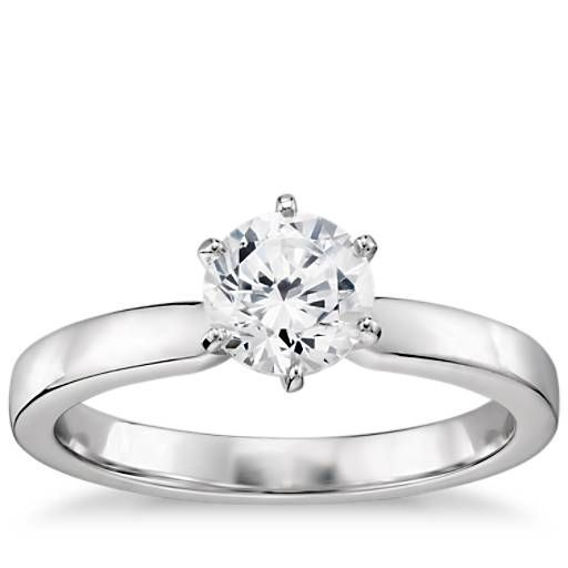 1/3 Carat Preset Six-Prong Low Dome Comfort Fit Solitaire Engagement Ring in 14k White Gold (2.5mm)