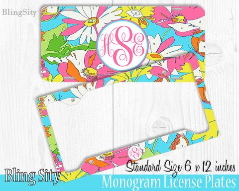 floral paint monogram license plate frame holder metal wall sign tags personalized custom vanity plate