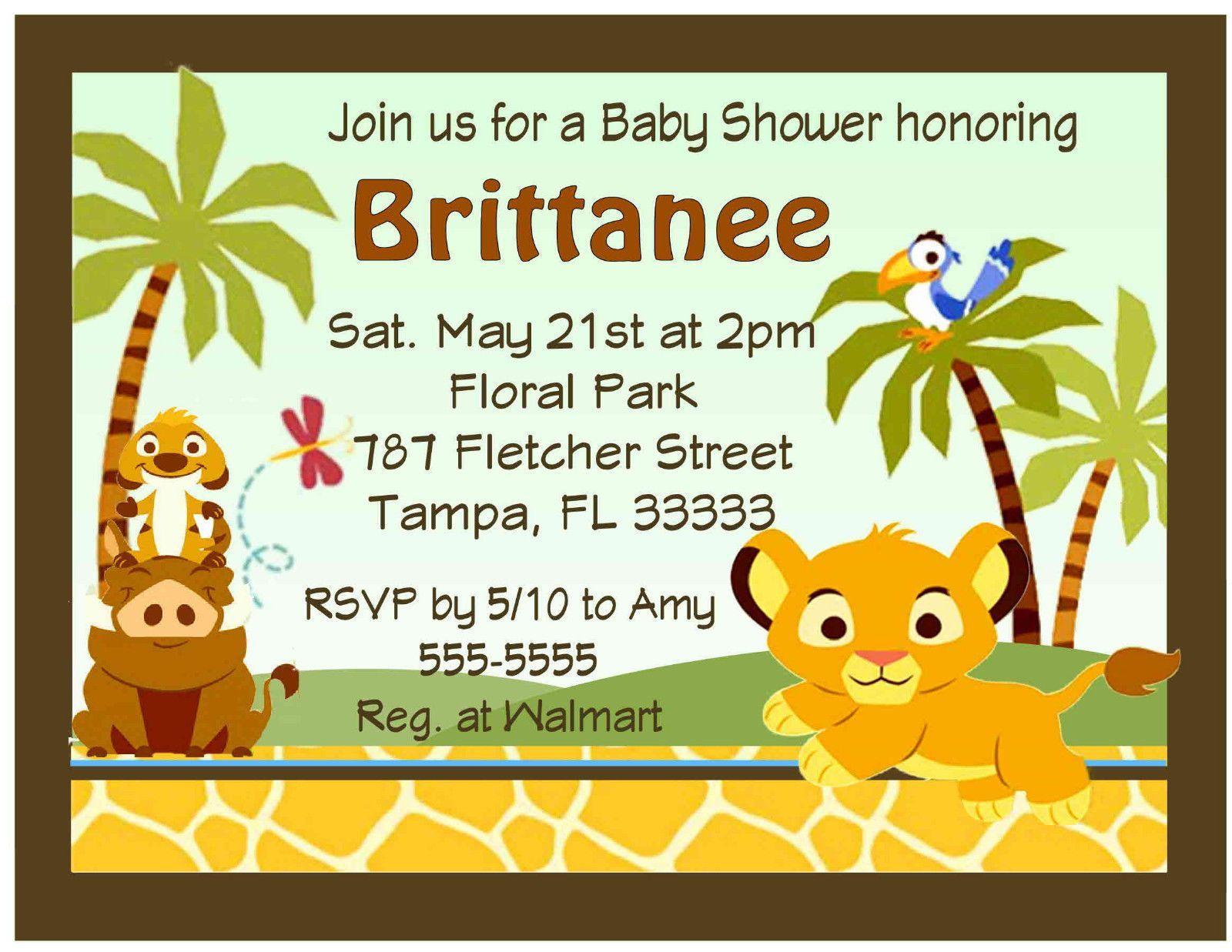 20 Lion King Baby Simba Baby Shower Invitations W Envelopes