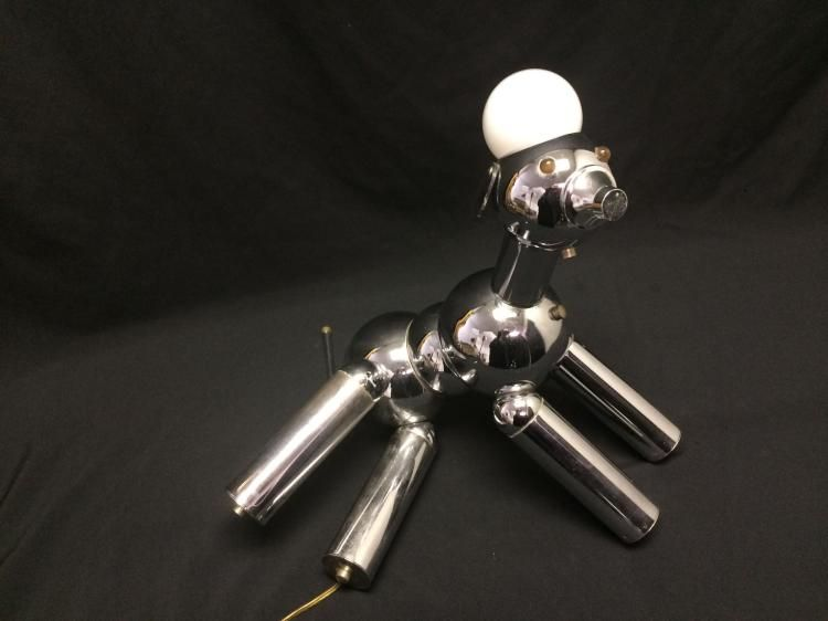 Mid Century Chrome Robot Dog Lamp Torino Lamp Company Italy Dog Lamp Robot Lamp Dog Light