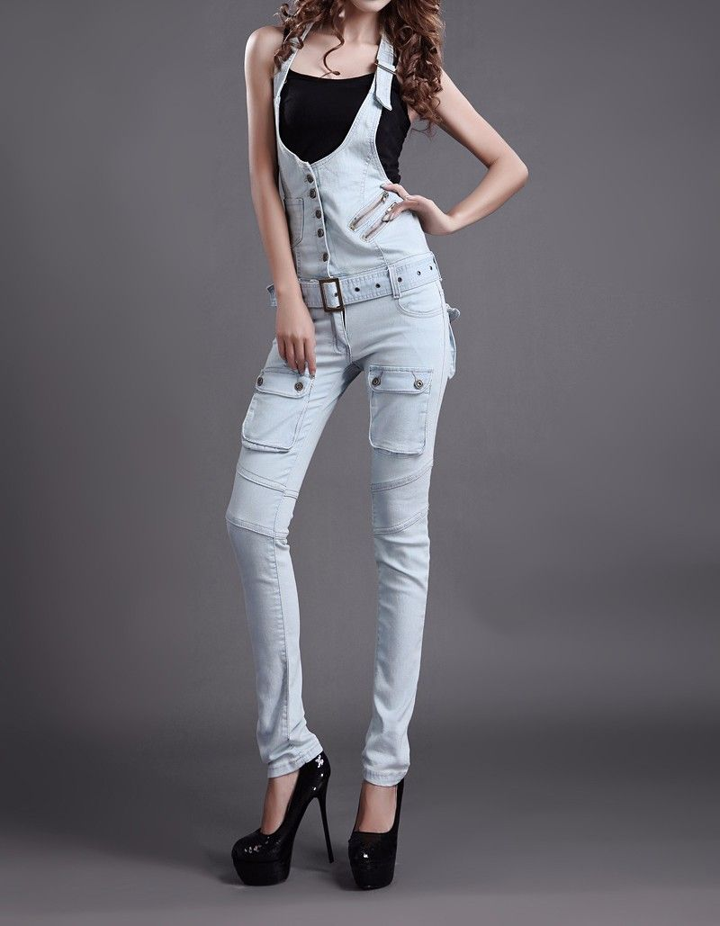 438ca02d4dbf J6051  2017 Fashion Girls Sexy Tight Jeans Pants Denim Suspender Pants  Ladies Trousers Jeans Overalls
