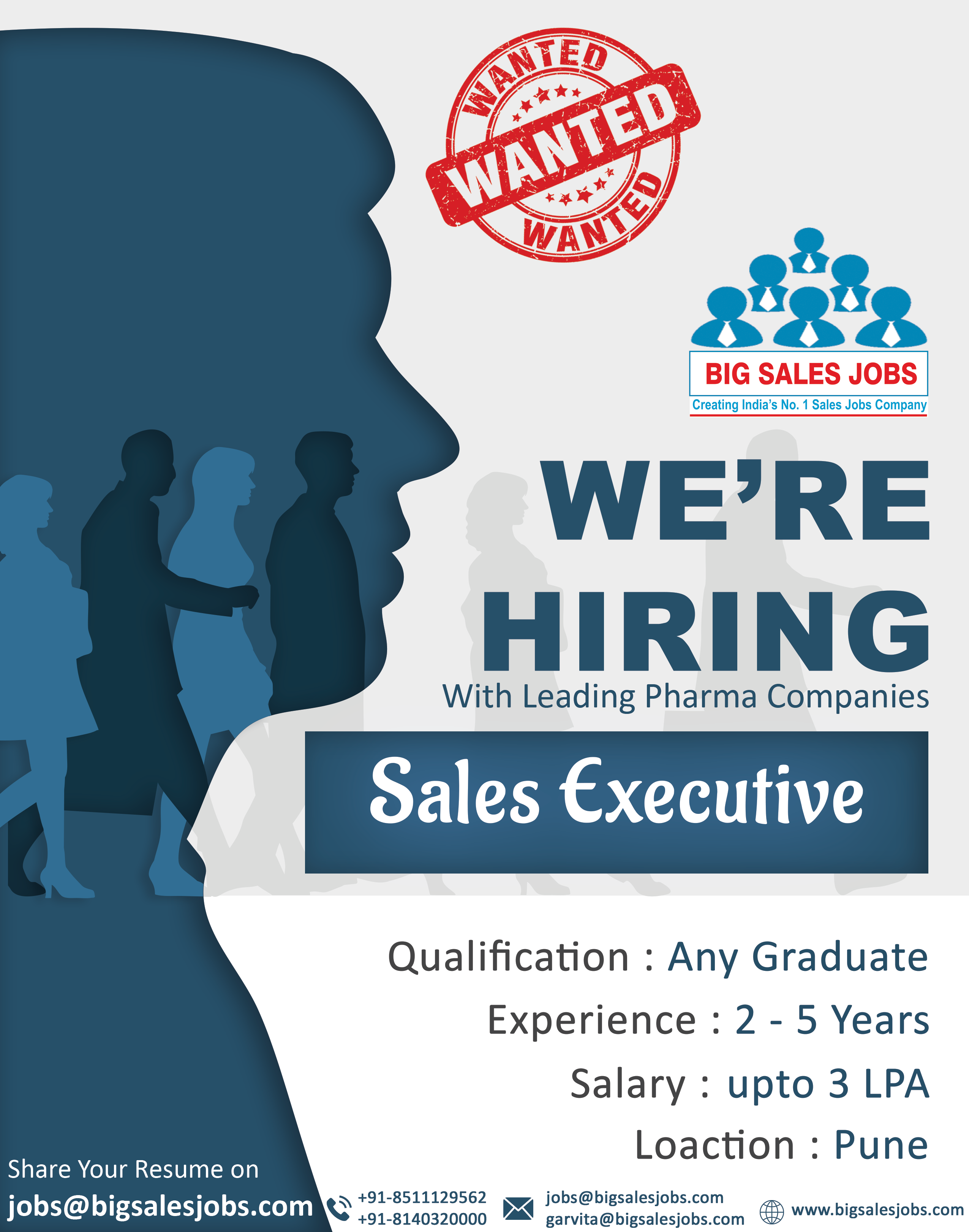Sales Opening For Sales Executive Qualification Any Graduate Experience 2 5 Years Ctc Up To 3 Lpa Interested Candidate Send Your R Desain Brosur Brosur