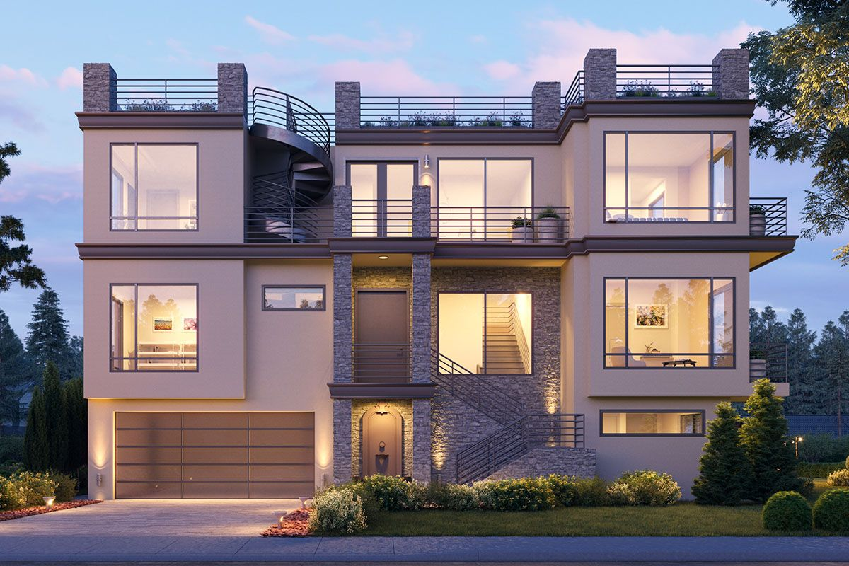 Plan 666087RAF: 3-Story Contemporary Home Plan with ...