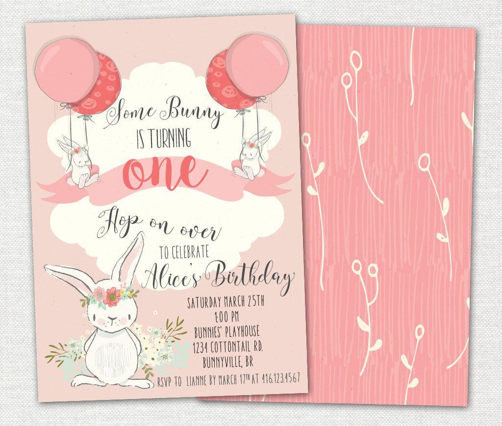 Bunny 1st Birthday Invitation / Baby Girl Invitation / Bunny ...
