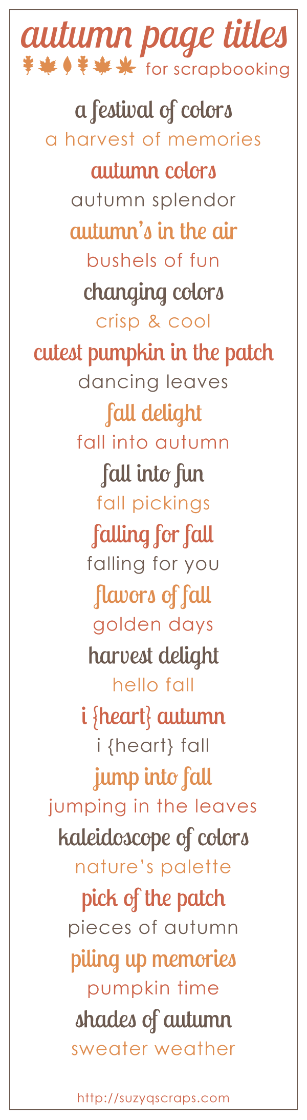 Scrapbook ideas and quotes - Fall Scrapbook Ideas Fall Autumn Scrapbook Page Titles
