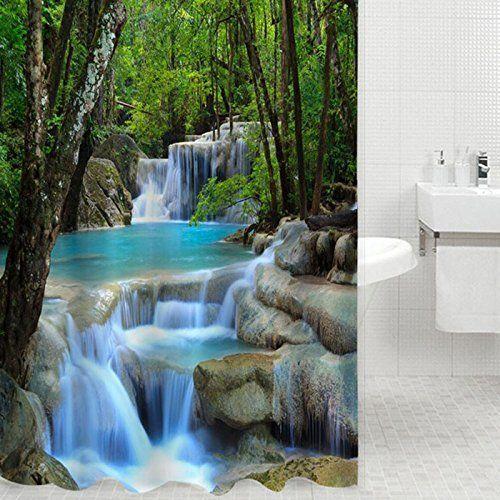 Live Direct 3d Waterfalls Scenery Waterproof Shower Curtain