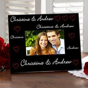 Romantic Personalized Picture Frames - Red Hearts Design