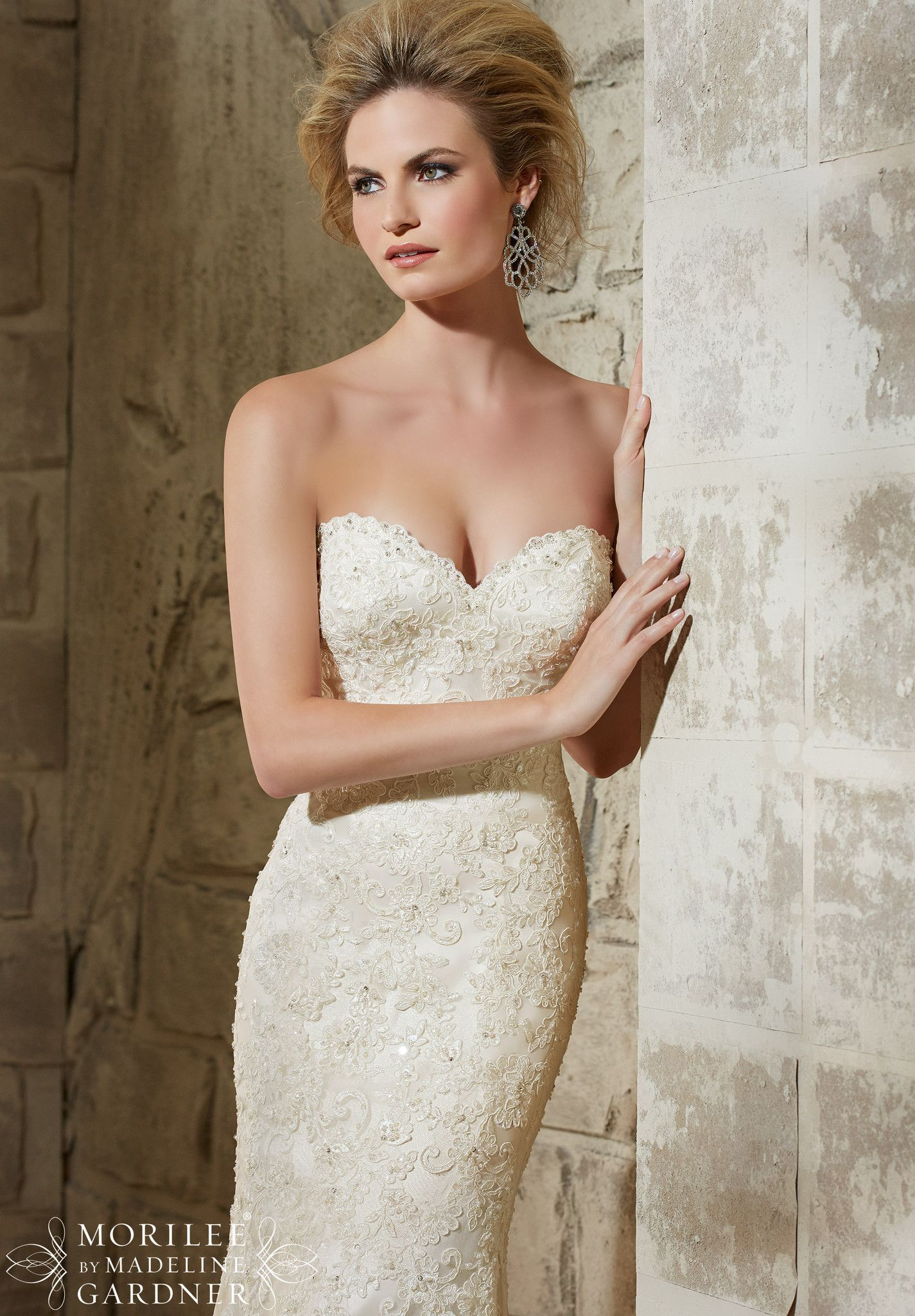 Mori lee wedding dresses discontinued styles  Mori Lee  Alençon Lace on Net Over Soft Satin with Crystal Beading