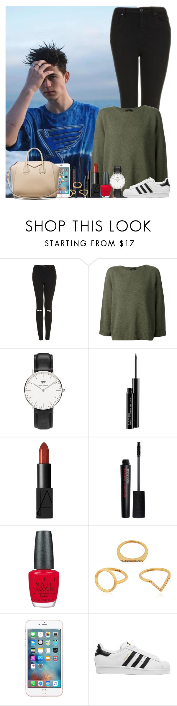 """Sans titre #1483"" by irish26-1 ❤ liked on Polyvore featuring Topshop, The Row, Daniel Wellington, MAC Cosmetics, NARS Cosmetics, Smashbox, OPI, Kenzo, adidas Originals and Givenchy"