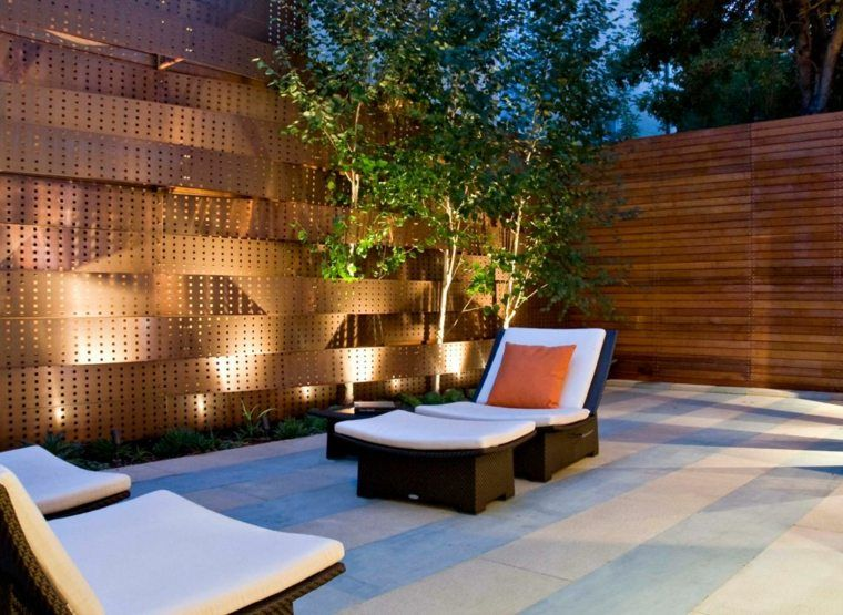 dco de mur extrieur de jardin avec acier corten et clairage design