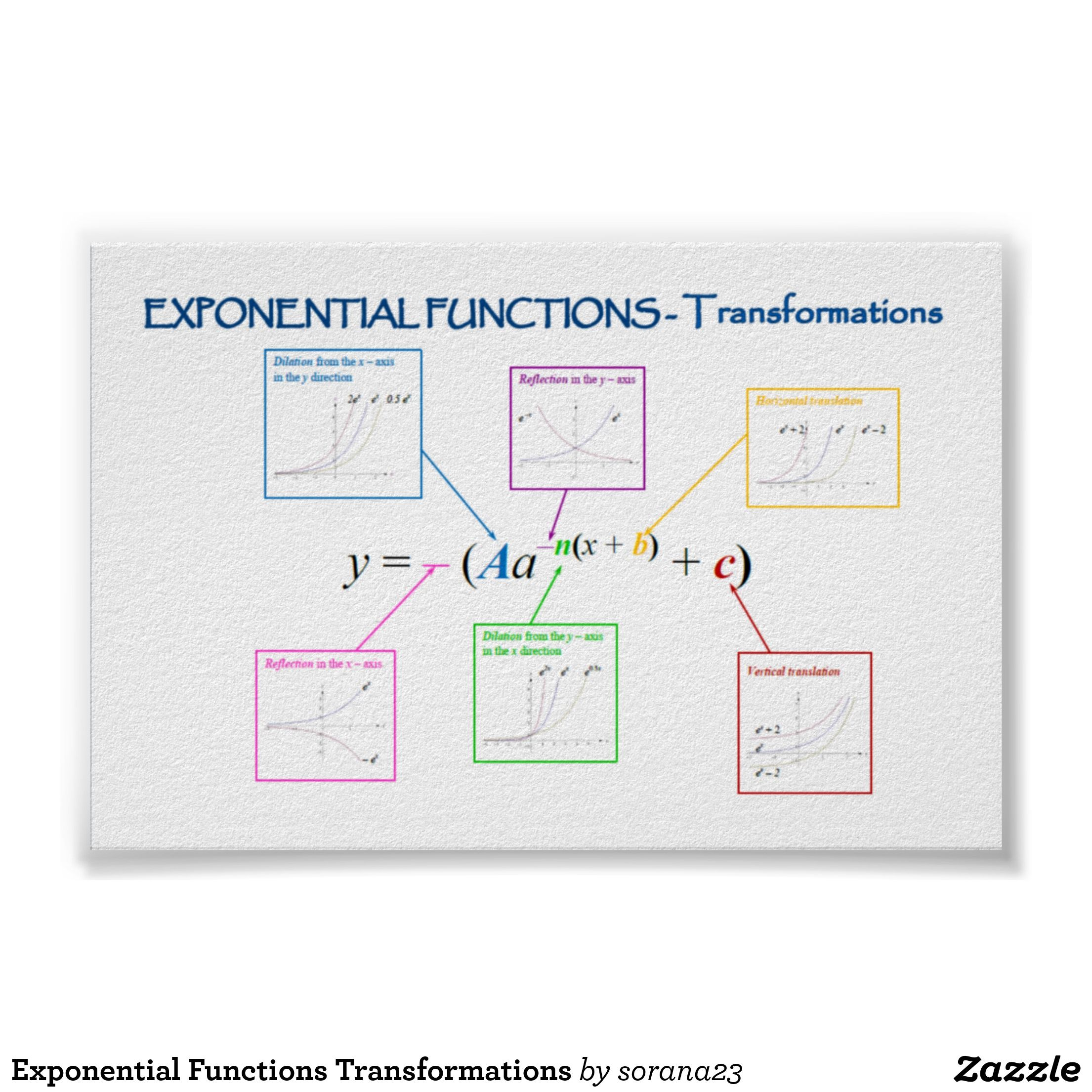 worksheet Writing Exponential Functions Worksheet functions transformations poster exponential poster