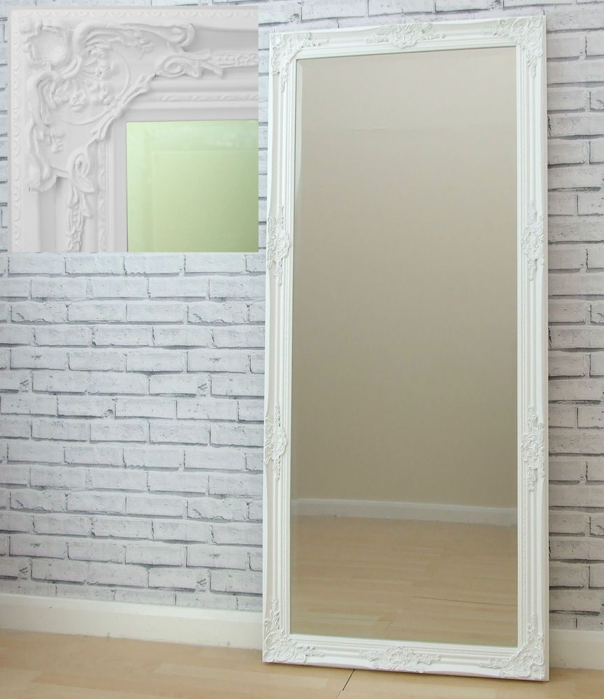 Eton WHITE X Large Shabby Chic antique Full Length leaner Floor ...