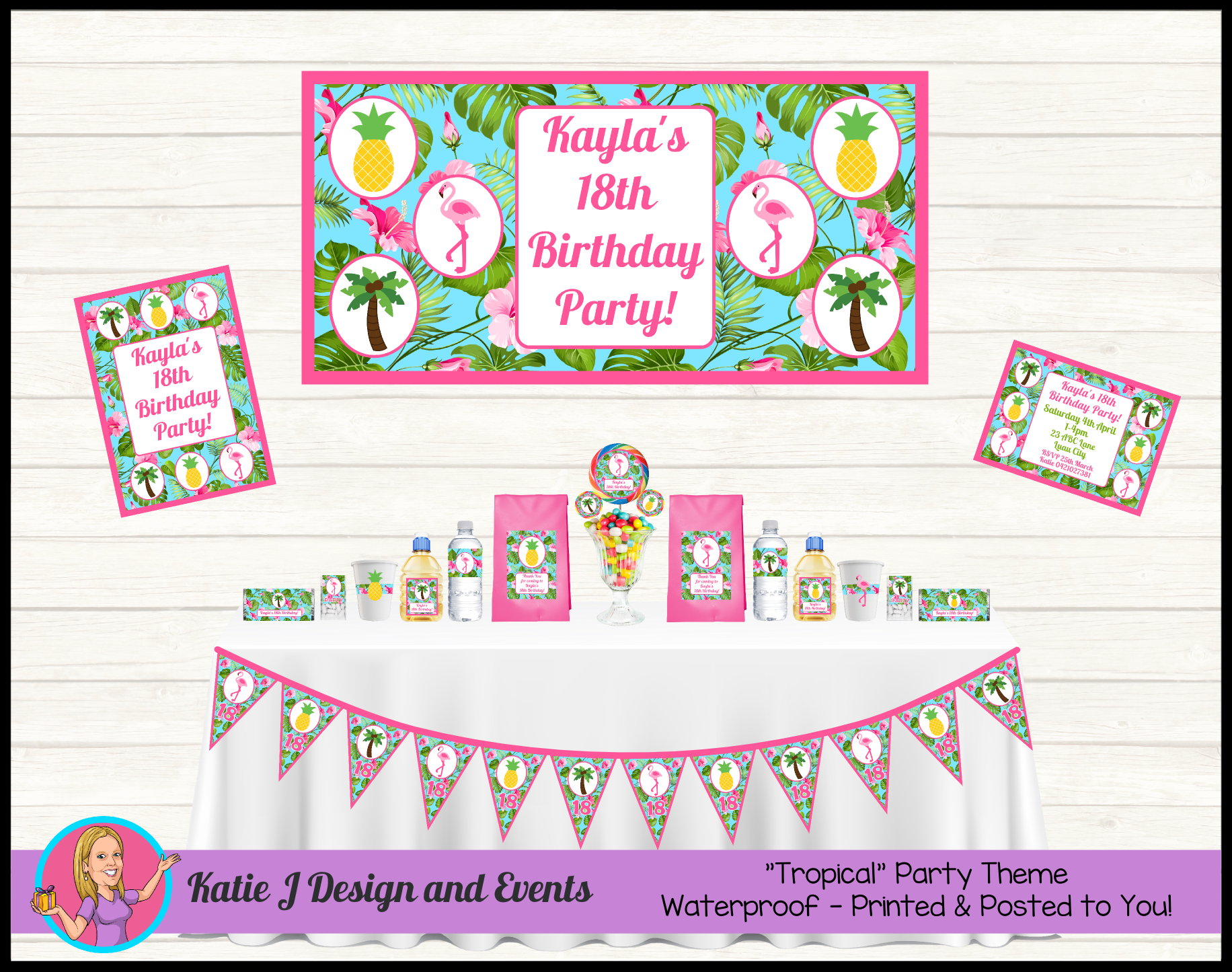 Tropical Flamingo Personalised Birthday Party Decorations Supplies Packs Shop Online Australia Banners Bunting Wall Display Cupcake