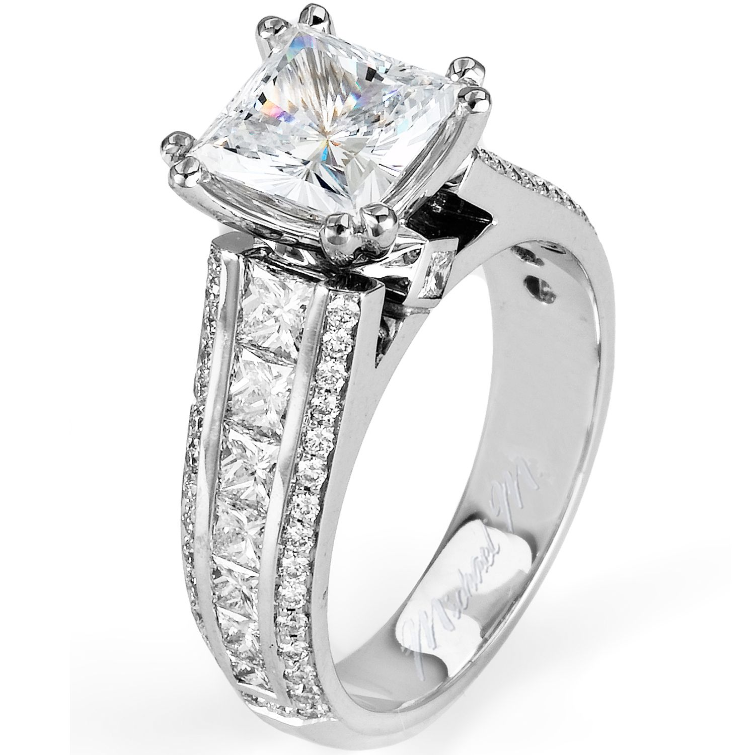 Michael M Triple Row Diamond Engagement Ring Features Princess Cut Channel Set In Between Two Rows Of Pave Round Brilliant Diamonds As Well: Big Wedding Rings Princess Cut Rock At Reisefeber.org