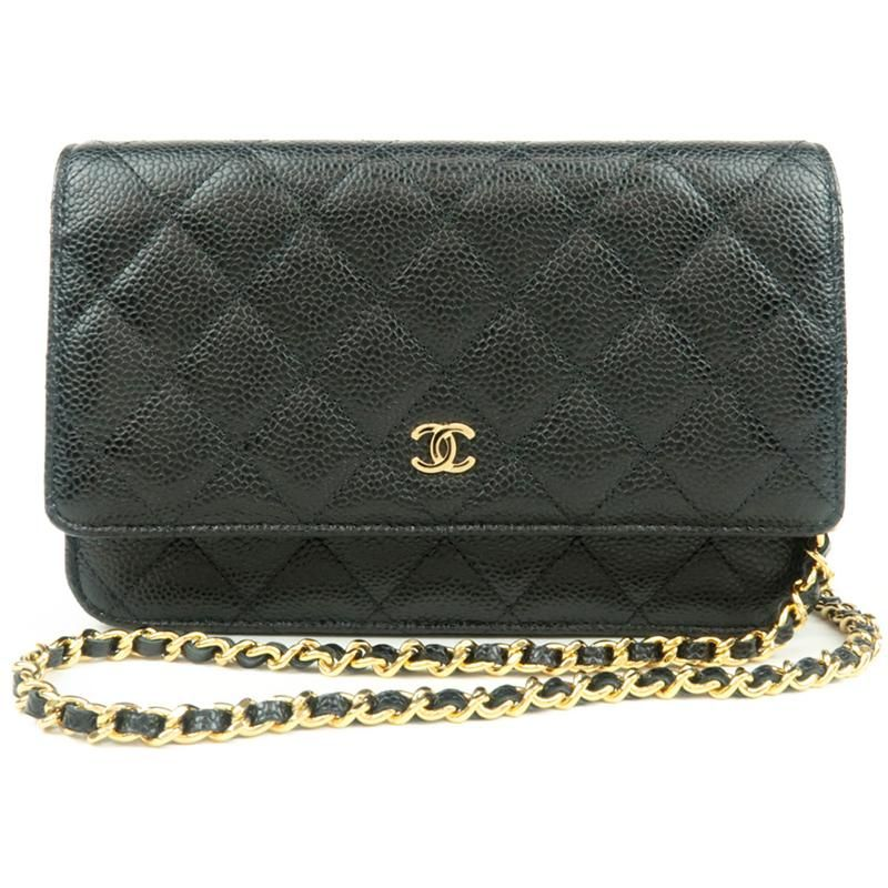 e3ed1ca36701e1 Authentic CHANEL Caviar Skin Matelasse Shoulder Chain Bag Black A33814 Used  F/S